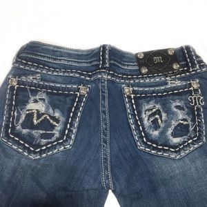 Miss Me distressed & embellished, inseam 30 EUC